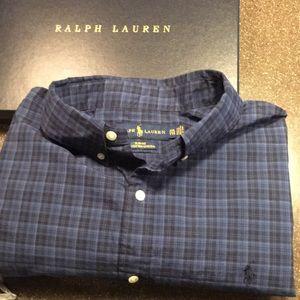 Men's Ralph Lauren Navy plaid long sleeve Shirt